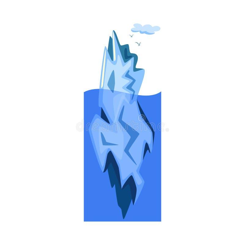 冰山和冰标志被隔绝的对象  设置网的冰山和海股票简名 库存例证