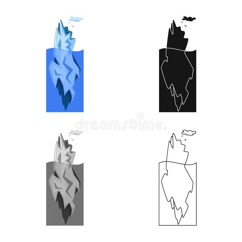 冰山和冰象的传染媒介例证 设置冰山和海股票的传染媒介象 向量例证