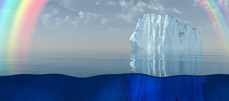 冰山和彩虹海上 皇族释放例证