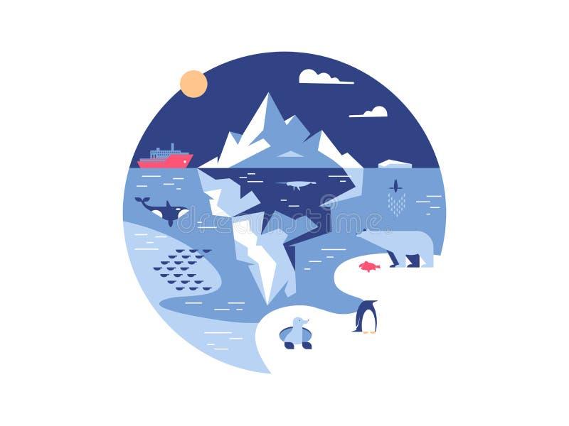 冰山在海或海洋 皇族释放例证