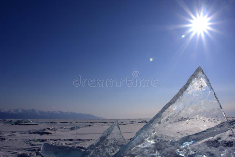 冰山在贝加尔湖的 库存图片
