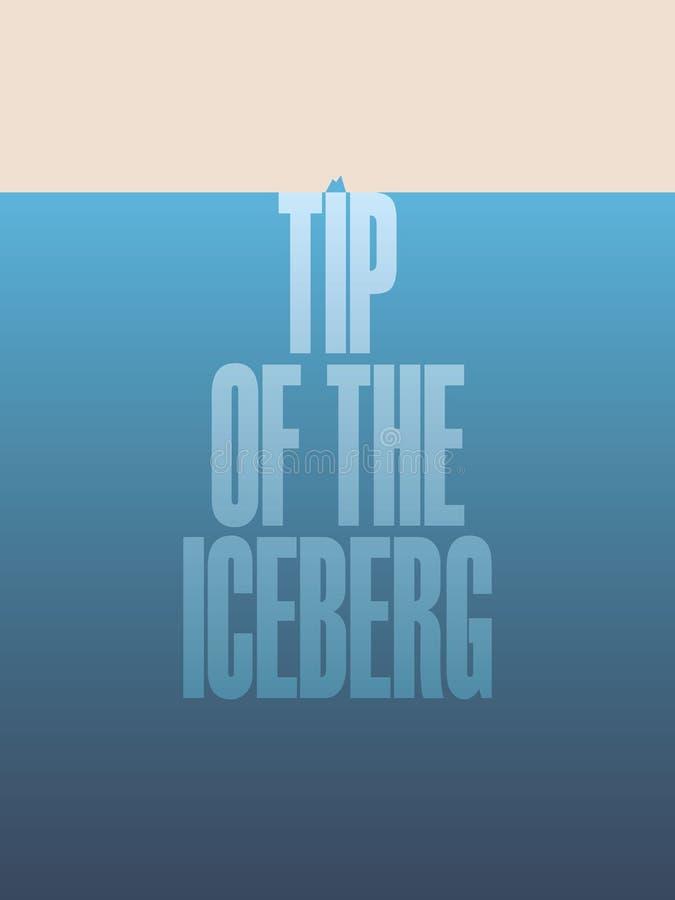 冰山的一角与文本和行情的例证海报 事务的传染媒介诱导抽象设计作为隐喻 向量例证