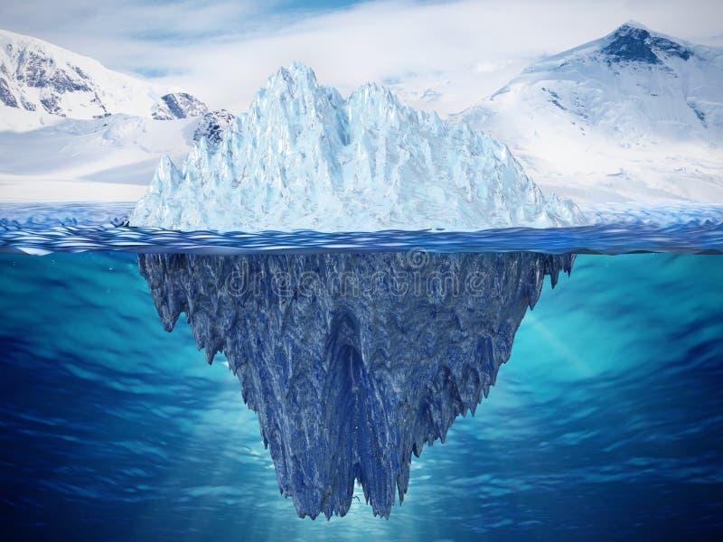 冰山的现实3D例证 3d例证 向量例证