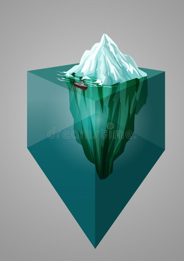 冰山背景 等量3d例证 水下或水面上的水平 也corel凹道例证向量 库存例证