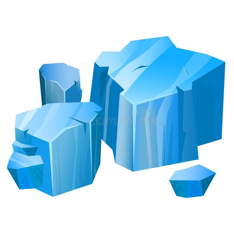 冰山蓝色北部标志、生态和气候 库存例证