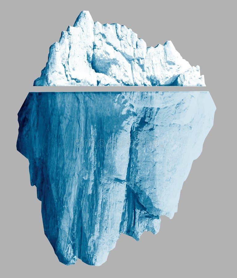 冰山隔绝与裁减路线包括3d例证 向量例证