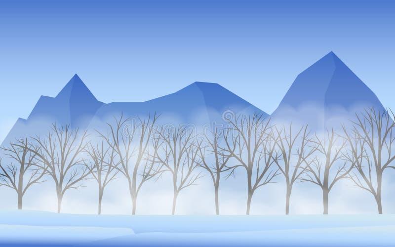 冰山风景和干燥树与薄雾 库存例证
