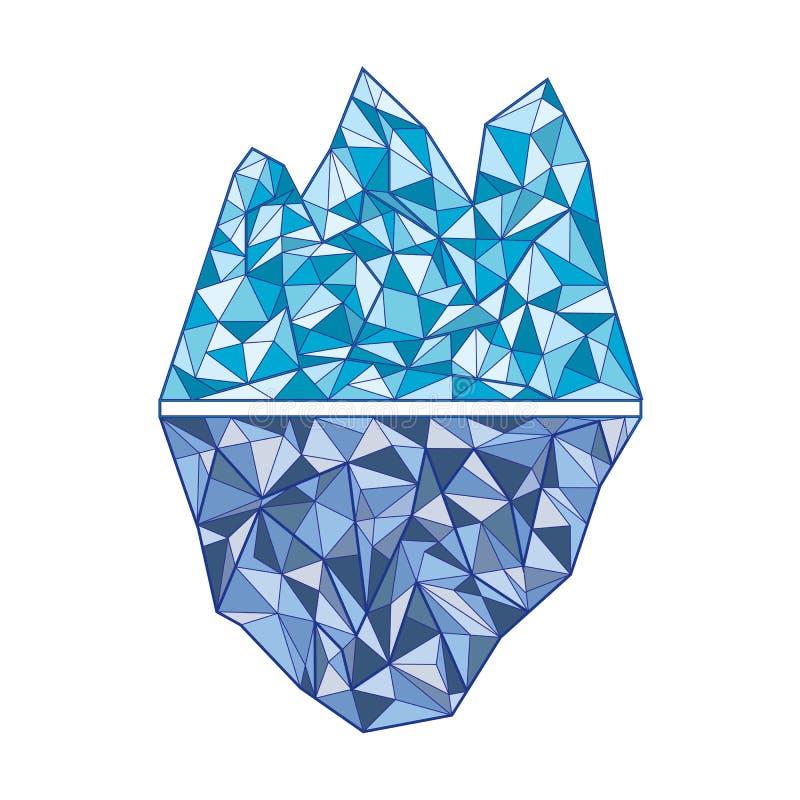 冰山 在和在水下上 一个分开的对象 库存例证
