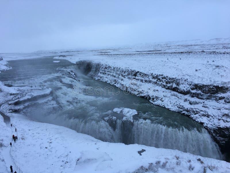 冰岛古佛斯瀑布金黄瀑布,金黄圈子 库存照片