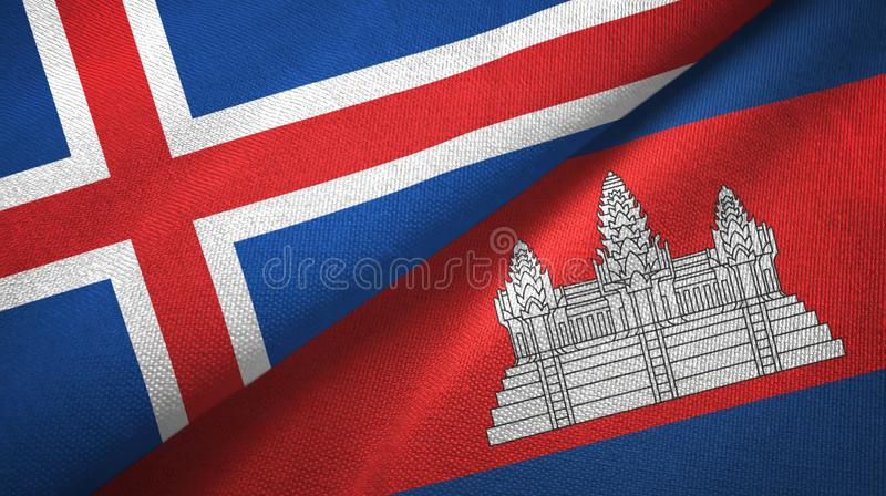 冰岛和柬埔寨两旗子纺织品布料,织品纹理 皇族释放例证