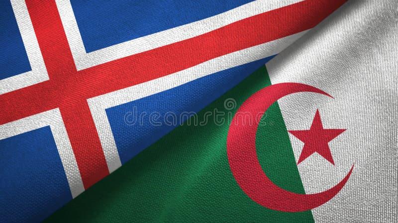 冰岛和阿尔及利亚两旗子纺织品布料,织品纹理 皇族释放例证