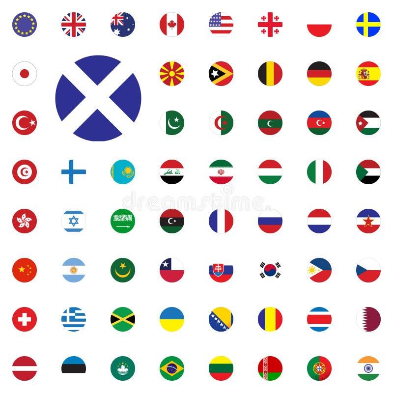 冰岛圆的旗子象 被设置的圆的世界旗子传染媒介例证象 库存例证