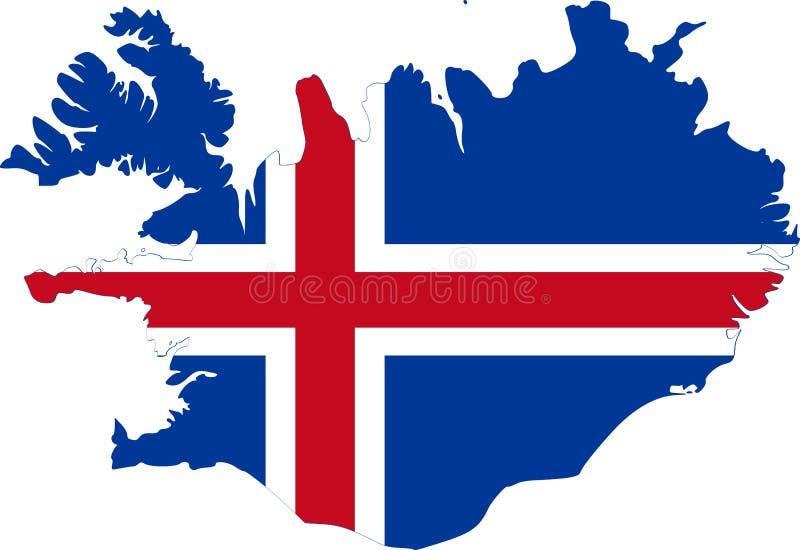 冰岛地图,旗子 向量例证