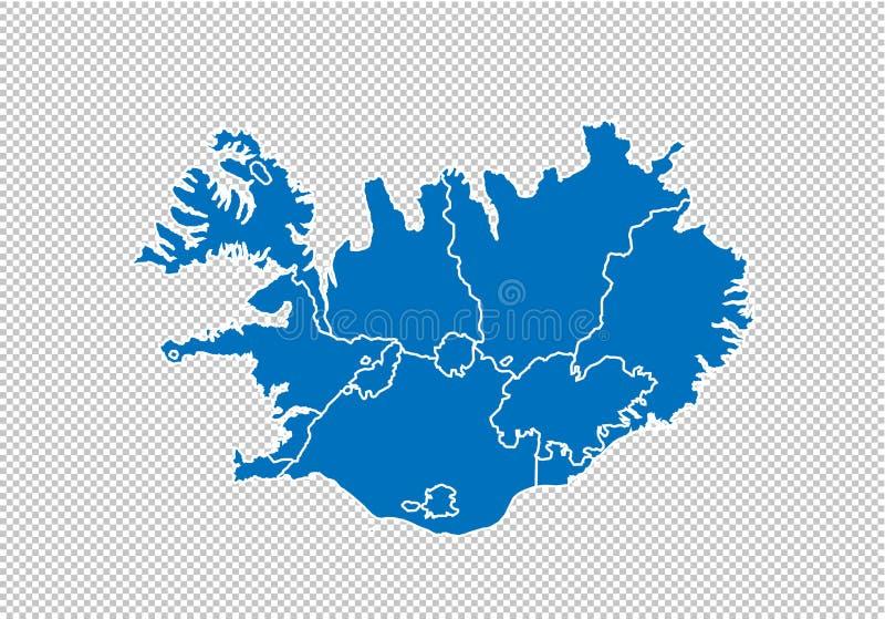 冰岛地图-上流详细的蓝色地图以县/冰岛的地区/状态 在透明背景隔绝的尼泊尔地图 库存例证