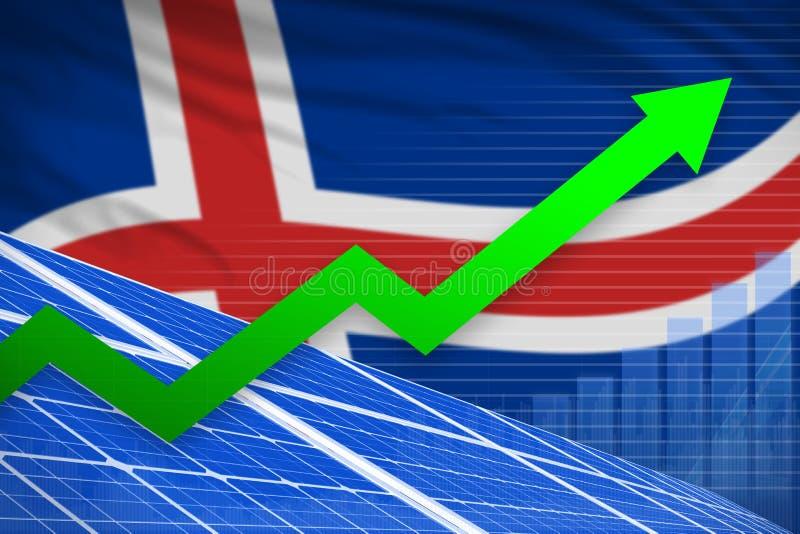 冰岛太阳能力量上升的图,-可更新的自然能工业例证的箭头 3d?? 向量例证