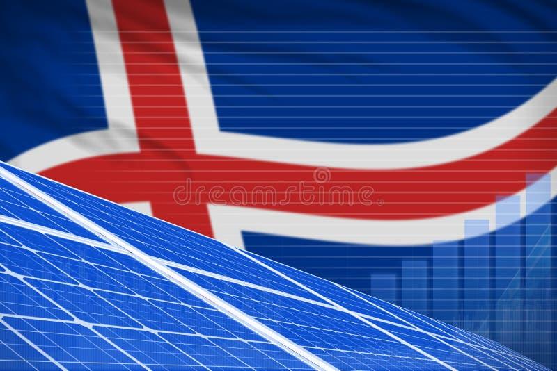 冰岛太阳能力量数字图表概念-绿色自然能工业例证 3d?? 库存例证
