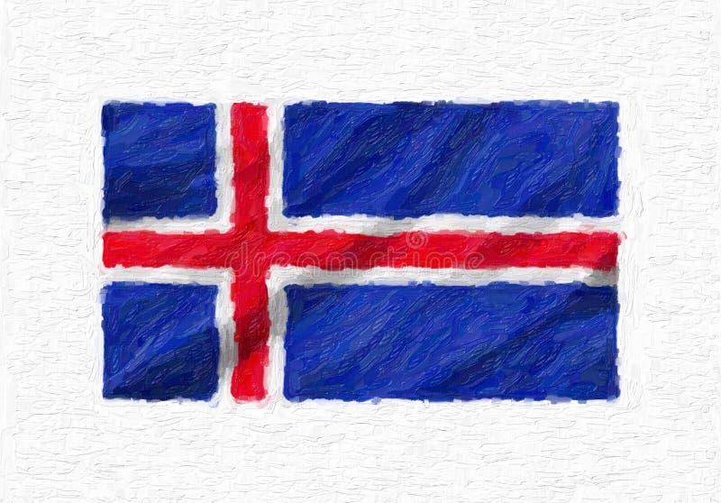 冰岛手画挥动的国旗,被隔绝的油漆  库存例证