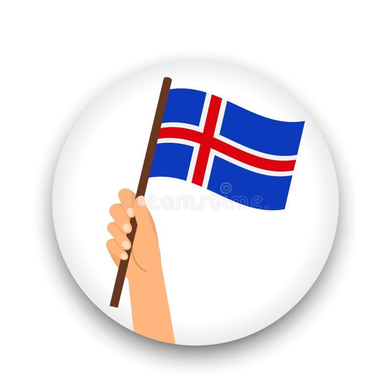 冰岛旗子在手中,圆的象 皇族释放例证