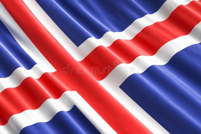 冰岛旗子背景, 3D 库存例证