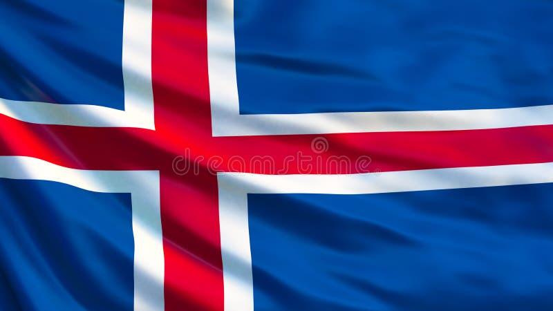 冰岛旗子 冰岛3d例证挥动的旗子  库存例证