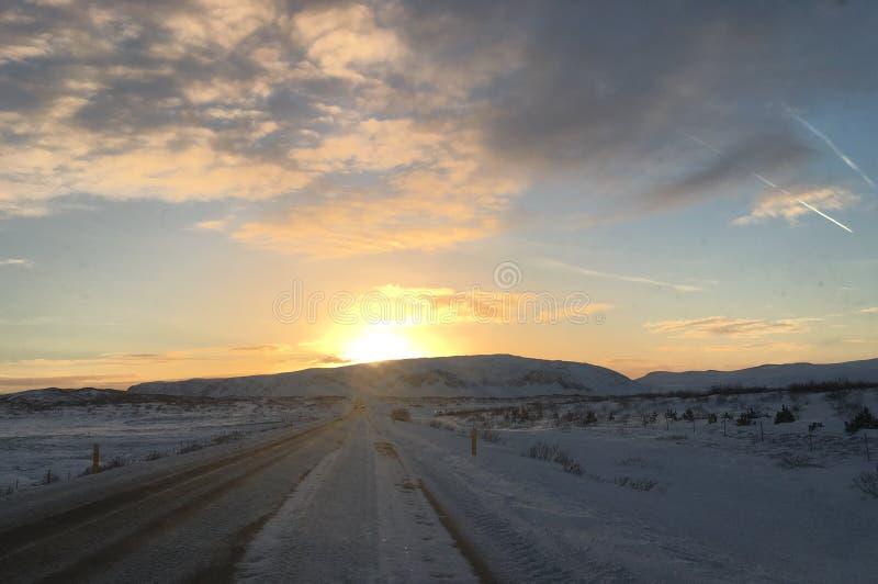 冰岛日落 免版税库存图片