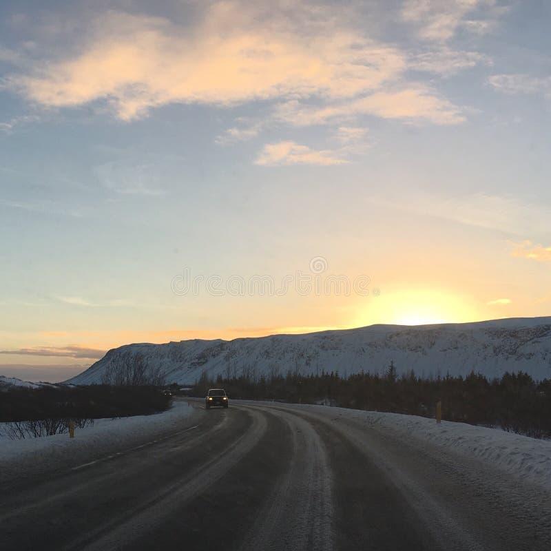 冰岛日落 库存照片