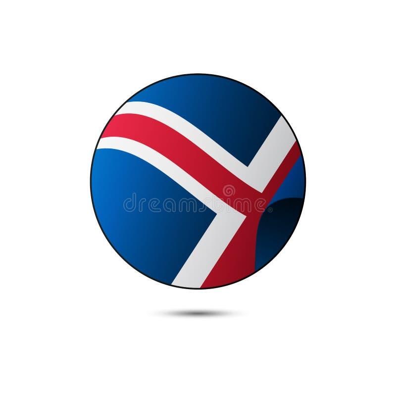冰岛有阴影的旗子按钮在白色背景 也corel凹道例证向量 库存例证