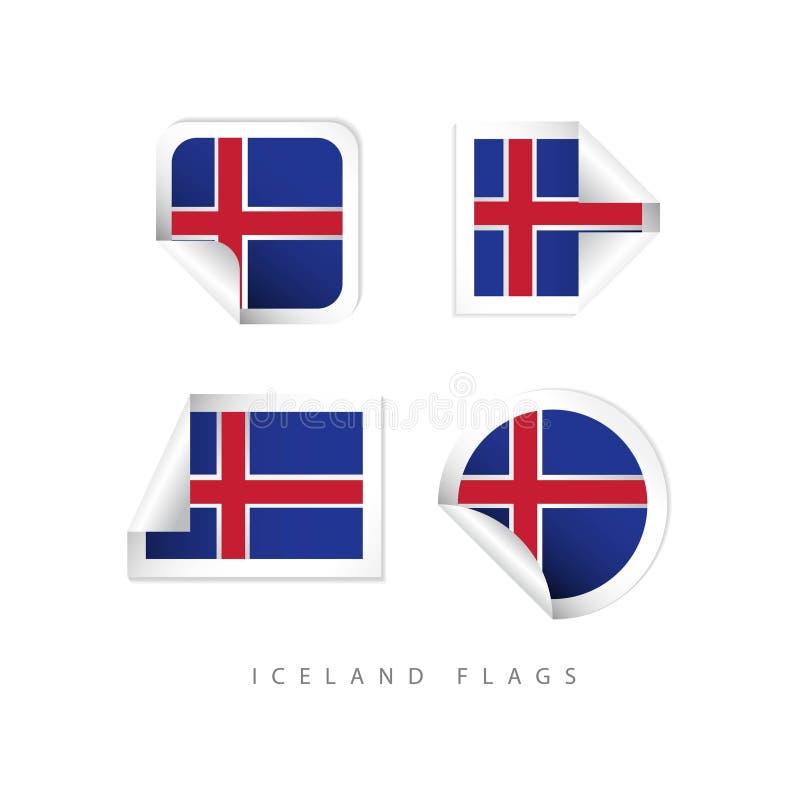冰岛标签旗子导航模板设计 库存例证