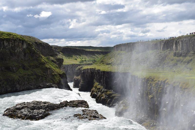 冰岛瀑布古佛斯瀑布 免版税库存照片