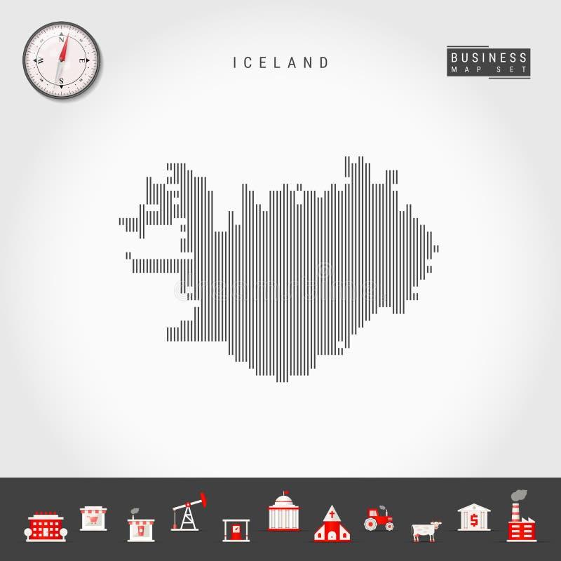 冰岛的传染媒介垂直线地图 冰岛的镶边剪影 现实指南针 r 向量例证