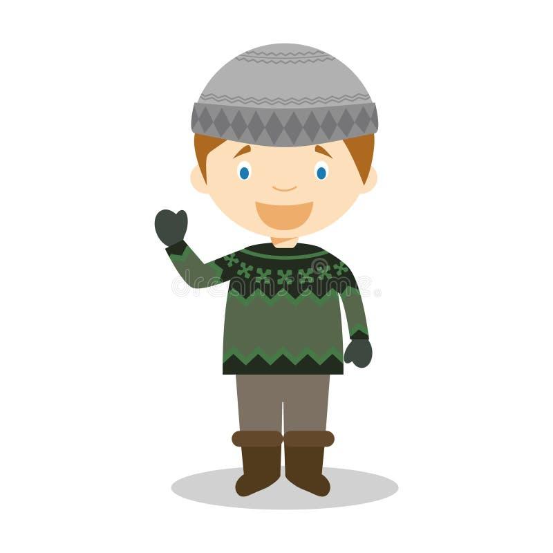 从冰岛的字符穿戴了用与典型的lopapeysa毛线衣的传统方式 库存例证