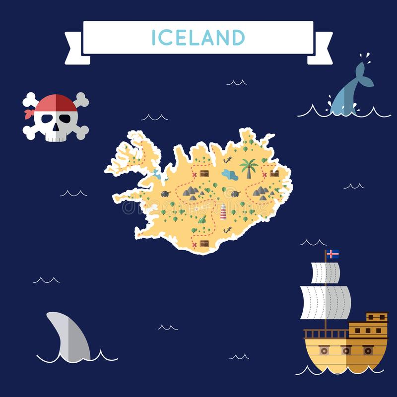 冰岛的平的珍宝地图 皇族释放例证