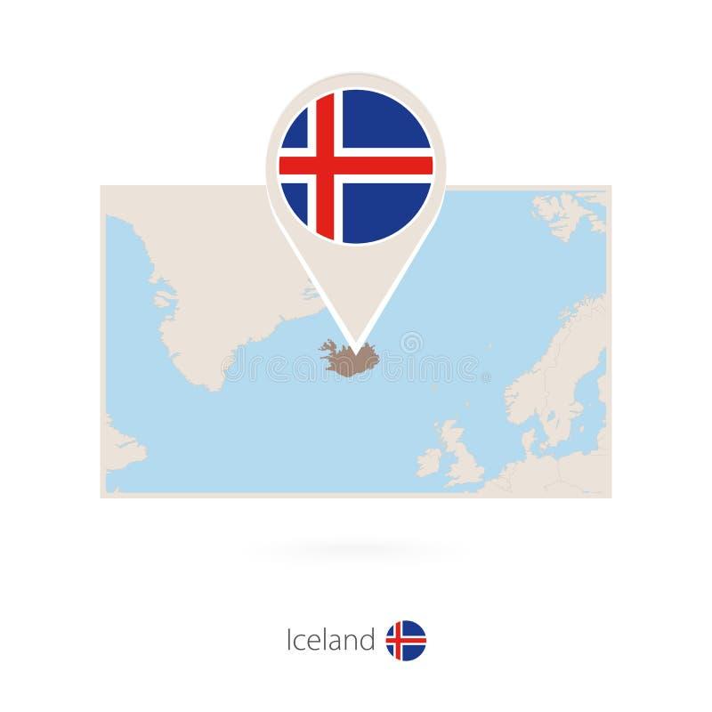 冰岛的长方形地图有冰岛的别针象的 向量例证