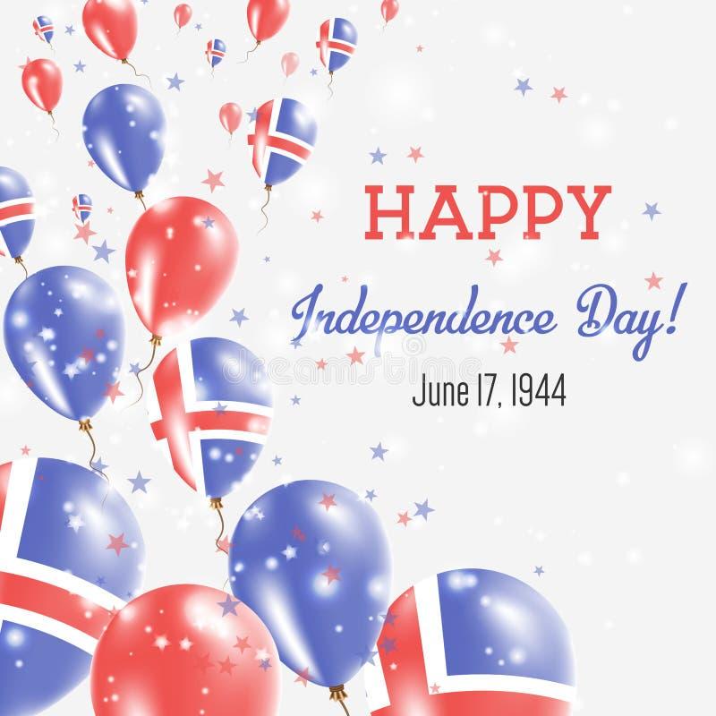冰岛美国独立日贺卡 皇族释放例证