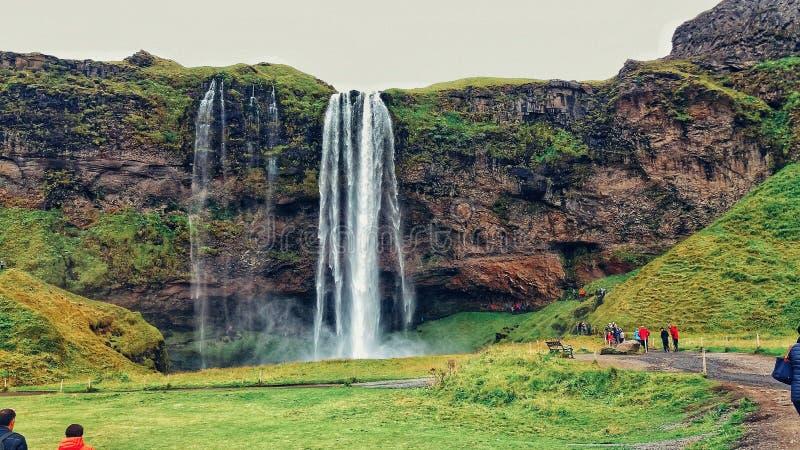 冰岛自然 Seljalandsfoss 令人惊讶的照片! 库存图片