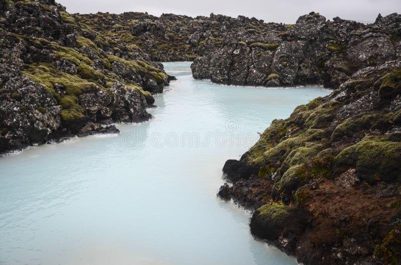 冰岛蓝色盐水湖 免版税库存照片