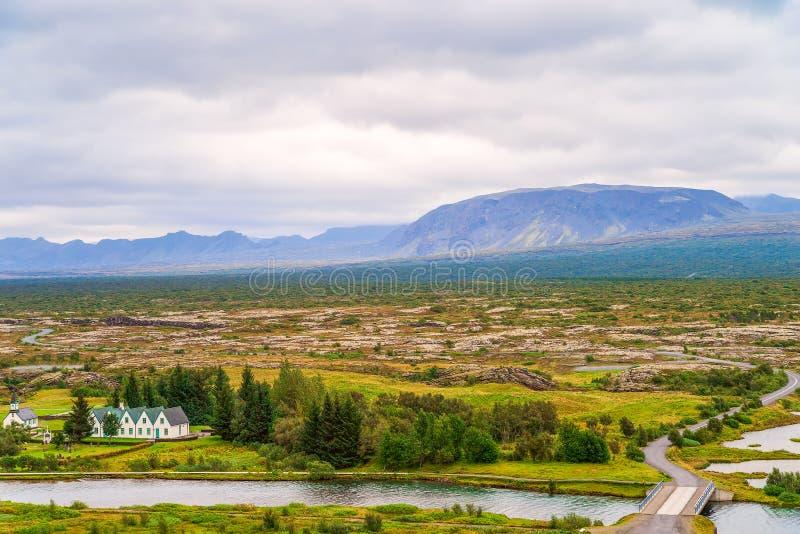 冰岛金圈辛格韦利尔国家公园的奥克拉拉河 冰岛西南部 免版税库存照片