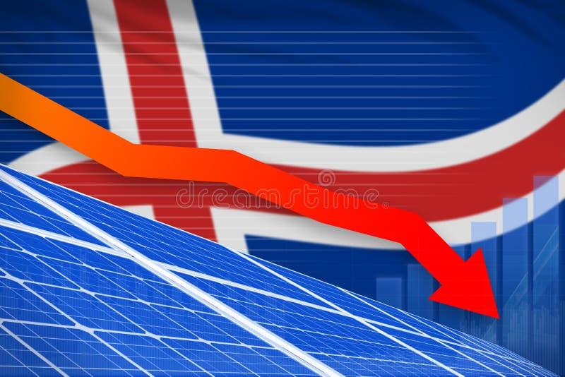 冰岛降低图,在-绿色自然能工业例证下的箭头的太阳能力量 3d?? 皇族释放例证