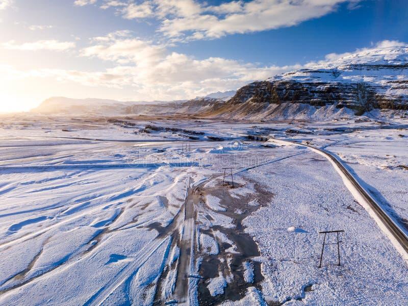 冰岛风景鸟瞰图在冬天 库存图片