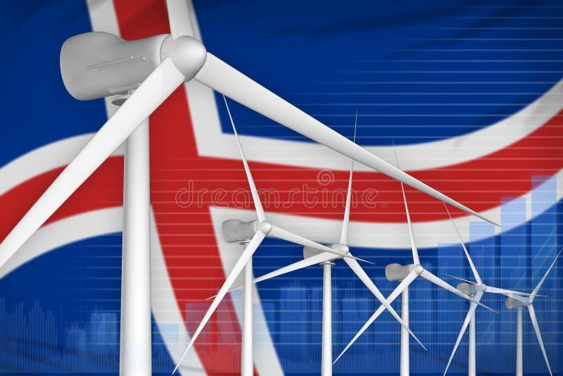 冰岛风能力量数字图表概念-现代自然能工业例证 3d?? 皇族释放例证