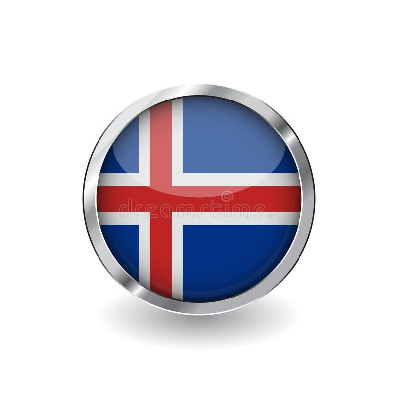 冰岛,有金属框架和阴影的按钮的旗子 冰岛旗子传染媒介象、徽章与光滑的作用和金属边界 Reali 库存例证
