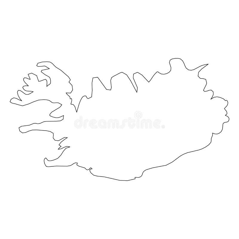 冰岛-国家区域坚实黑概述边界地图  简单的平的传染媒介例证 向量例证