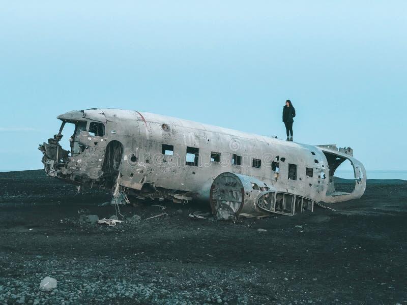 冰岛-达可它击毁飞机 免版税库存照片