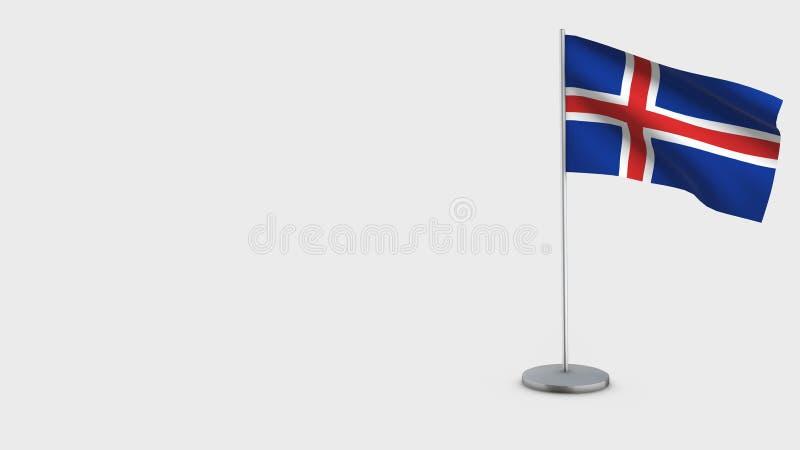 冰岛3D挥动的旗子例证 皇族释放例证