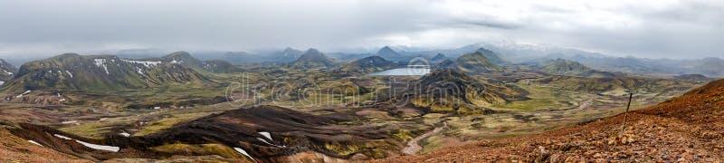 冰岛Landmannalaugar艰苦跋涉狂放的风景 免版税图库摄影