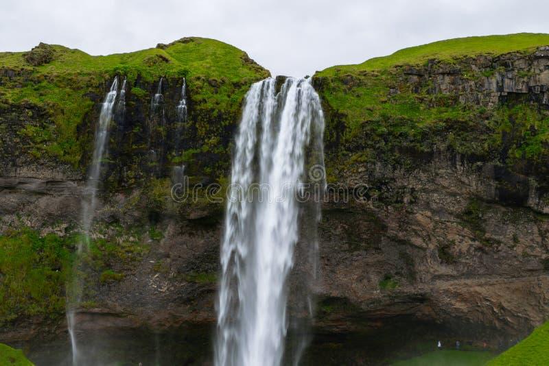 冰岛seljalandsfoss瀑布 库存照片