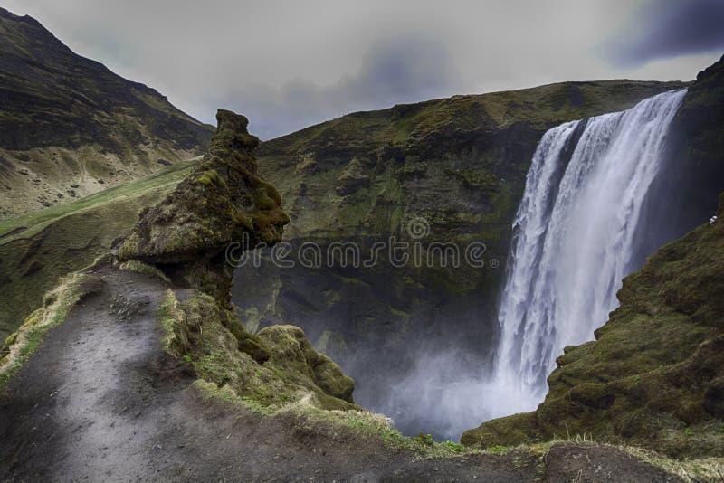 冰岛skogafoss瀑布 库存照片