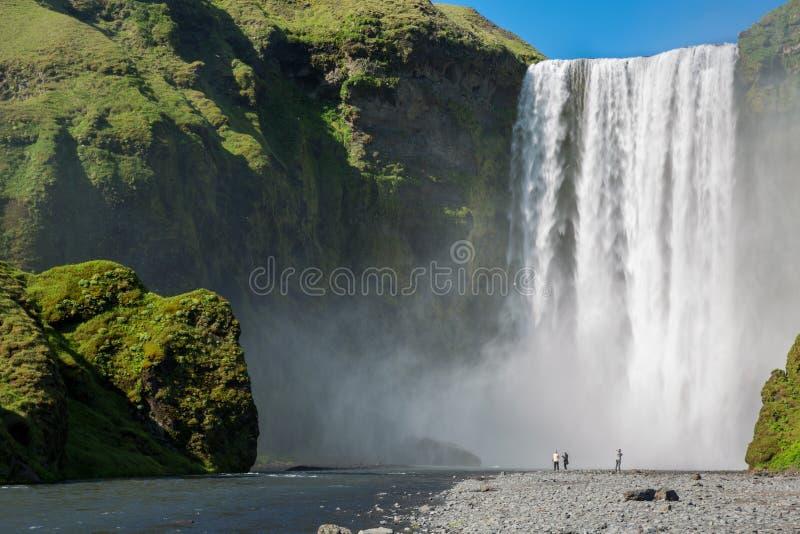 冰岛skogafoss skogar南部的瀑布 库存照片