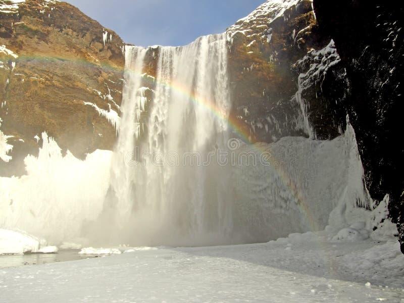 冰岛skogafoss skogar南部的瀑布 免版税库存照片
