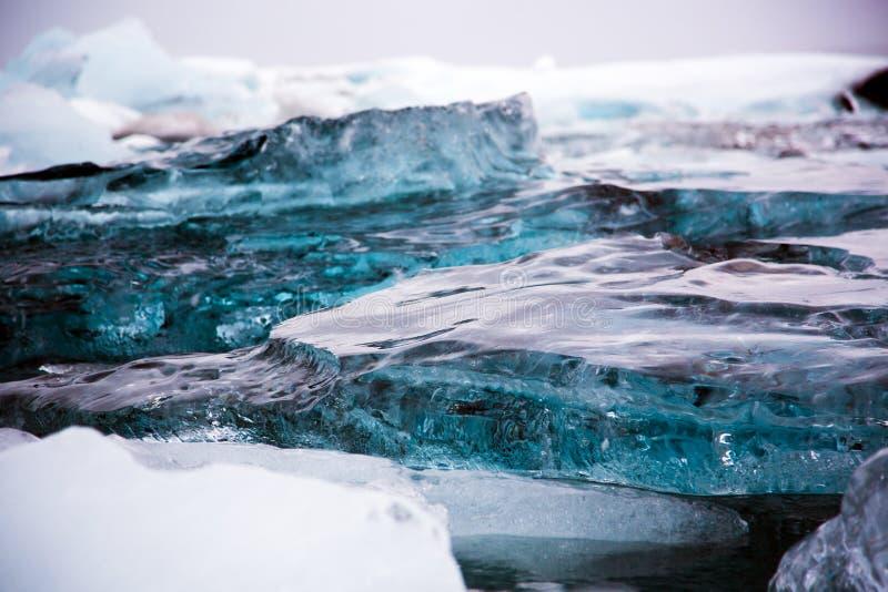 冰川在埃亚菲亚德拉冰盖冰川湖  免版税图库摄影